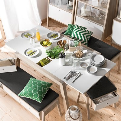 VOX SPOT EXTENDING DINING TABLE in Acacia and White