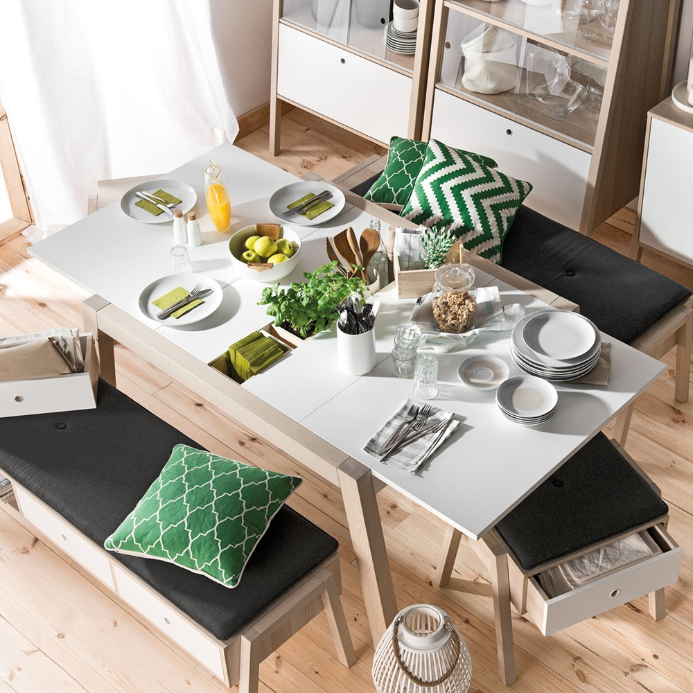 Vox spot extending dining table in acacia white