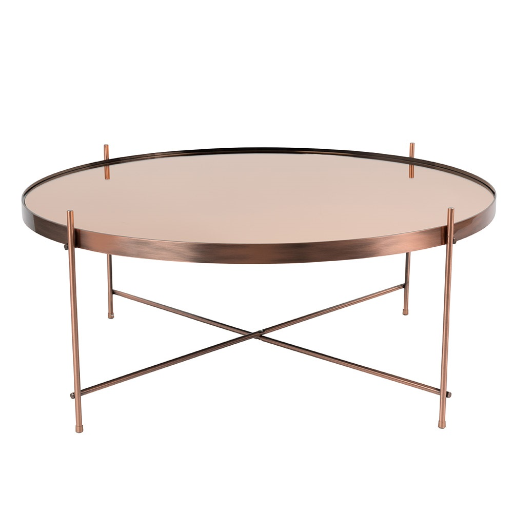 Zuiver cupid living room coffee table in metallic copper for Large low coffee table