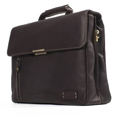 THE BARRISTER FLAPOVER BRIEFCASE In Dark Brown by Adventure Avenue
