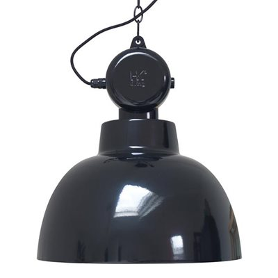 INDUSTRIAL FACTORY PENDANT CEILING LIGHT in Gloss Black