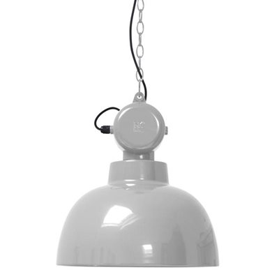 INDUSTRIAL FACTORY PENDANT CEILING LIGHT in Gloss Grey