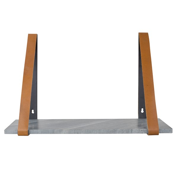 Zuiver Fad Marble Wall Shelf in Grey with Buffalo Leather Straps
