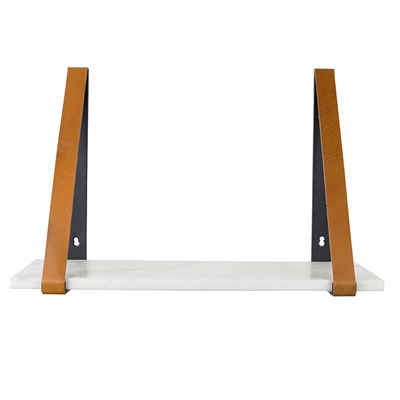 ZUIVER FAD MARBLE WALL SHELF in White with Buffalo Leather Straps
