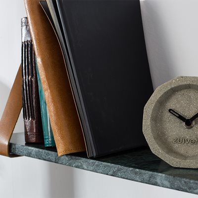 FAD MARBLE WALL SHELF in Grey with Buffalo Leather Straps