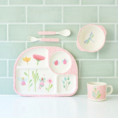 KIDS BAMBOO 5 PIECE DINNER SET - Fairy Garden