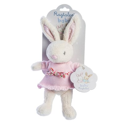 RAGTALES FIFI RABBIT BABY RATTLE SOFT TOY