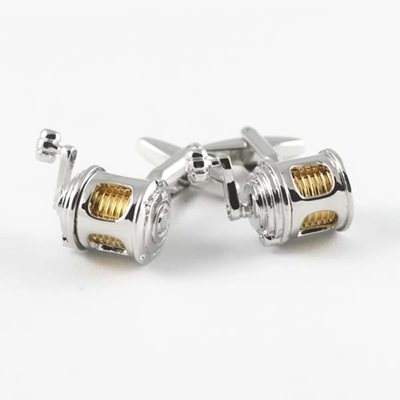 FISHING REEL SILVER PLATED CUFFLINKS in Chrome Box