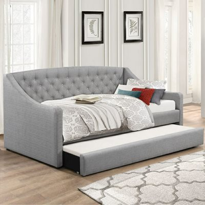 AURORA UPHOLSTERED DAY BED in Grey by Flair Furnishings