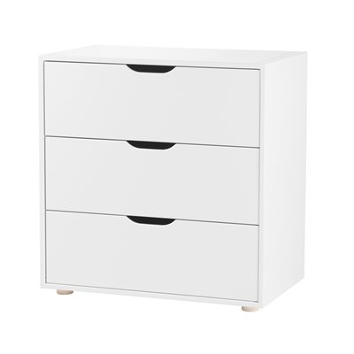 FLEXA KIDS WIDE 3 DRAWER CHEST in White
