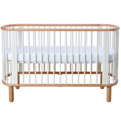 FLEXA 5 in 1 BABY COT BED in White and Beech