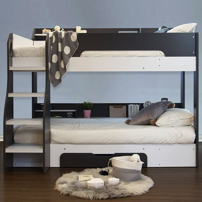 Kids Flick Bunk Bed in Grey with Storage Drawer by Flair Furnishings