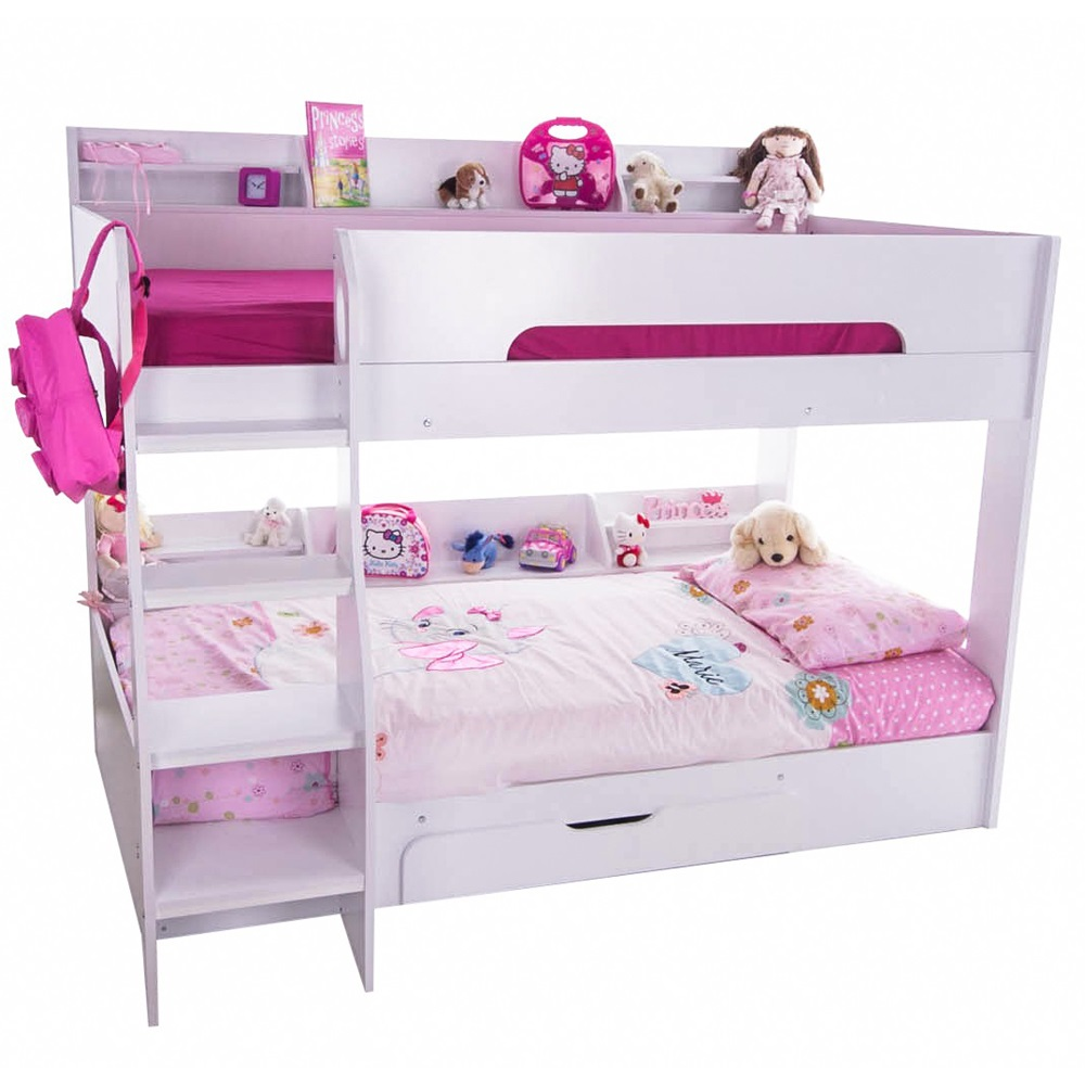 Kids flick bunk bed in white with storage kids beds cuckooland - Toddler beds with drawers ...