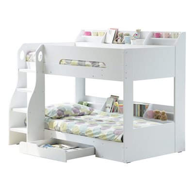 KIDS FLICK BUNK BED in White with Storage Drawer