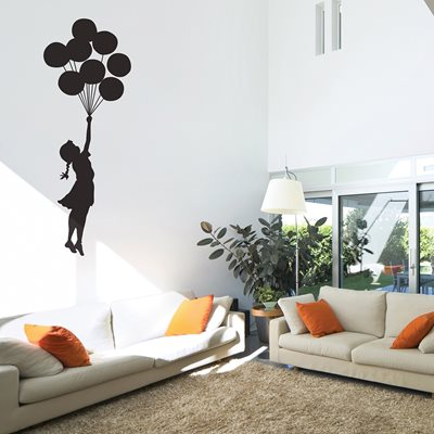 BANKSY WALL STICKER in Floating Balloon design