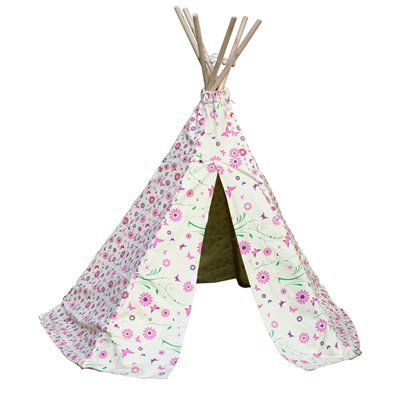 FLOWER & BUTTERFLY GIRLS WIGWAM PLAY TENT