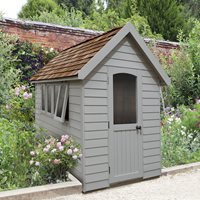 Product photograph showing Forest Garden 8x5 Retreat Shed - Pebble Grey