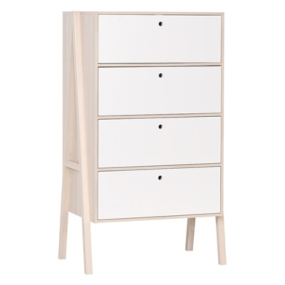 Vox Spot Chest of Four Drawers in Acacia & White
