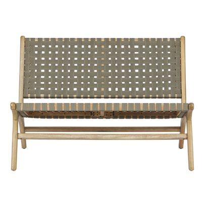 Frame Woven Garden Bench in Olive Green by Woood