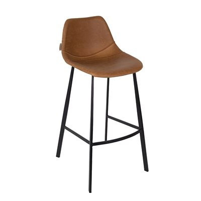 DUTCHBONE SET OF 2 FRANKY BAR STOOLS in Brown PU Leather