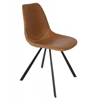 DUTCHBONE SET OF 2 FRANKY CHAIRS in Brown PU Leather