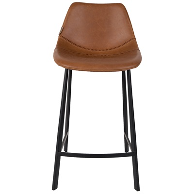 Dutchbone Set Of 2 Franky Counter Bar Stools In Brown Pu