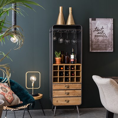 Freestanding-Wine-Rack.jpg ... & Dutchbone Vino Vintage French Style Wine Cabinet In Solid Fir Wood ...