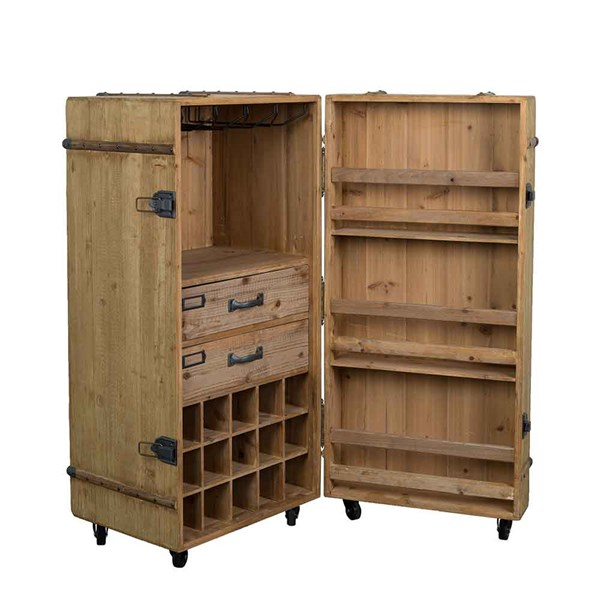 Solid Wood Mobile Drinks Cabinet with Glasses Rack