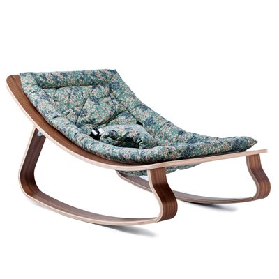 LEVO BABY ROCKER in Walnut Wood with Frou Frou Blue Cushion