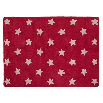 KIDS WASHABLE RUG in Pink Stars Design