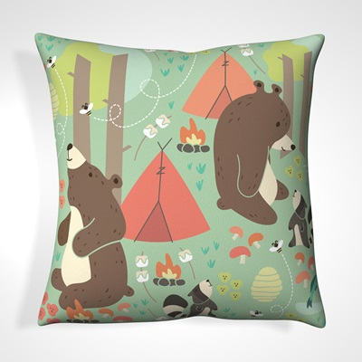 CUSHION in Camping Bears Design