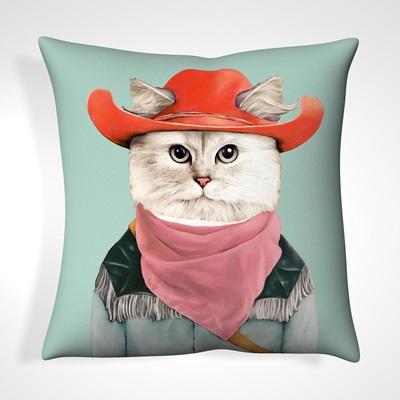 CUSHION in Rodeo Cat Design