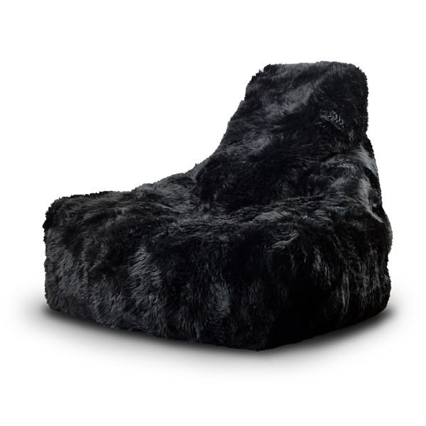 Mighty Sheepskin Fur Bean Bag in Black