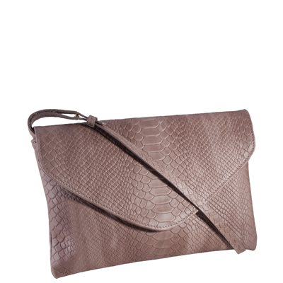 GI NEW YORK Envelope Clutch Bag in Taupe Embossed Leather Python