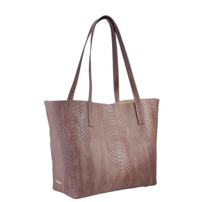 DESIGNER LEATHER TOTE in Taupe Embossed Python Print