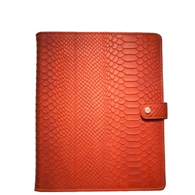 LEATHER iPad Case in Orange Embossed Python