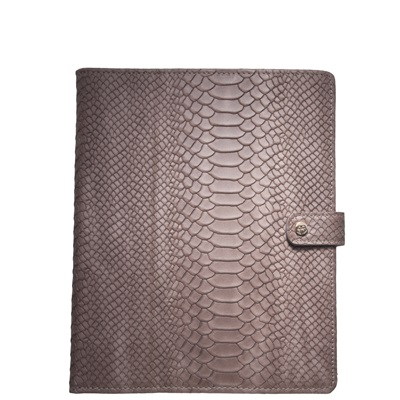 LEATHER iPAD CASE in Taupe Embossed Python