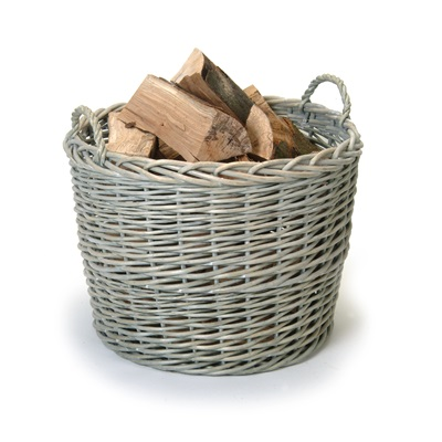GIANT LOG BASKET Rattan Wicker in Grey by Garden Trading