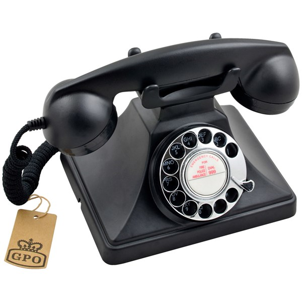 Traditional Retro Telephone in Black with Rotary Dialing Function