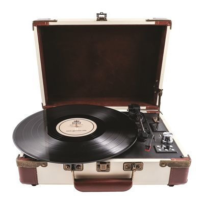 GPO AMBASSADOR RECORD PLAYER TURNTABLE in Cream and Tan