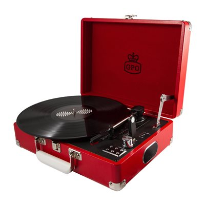 GPO Attache Record Player Turntable Suitcase in Red