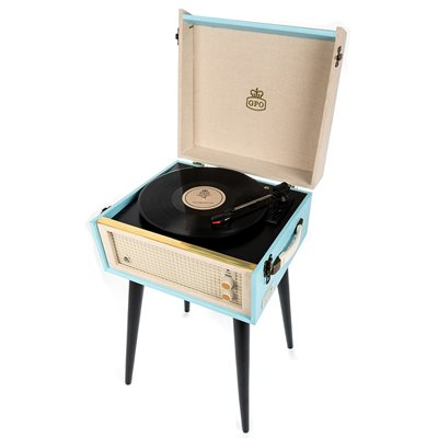 GPO BERMUDA RECORD PLAYER TURNTABLE in Blue & Cream