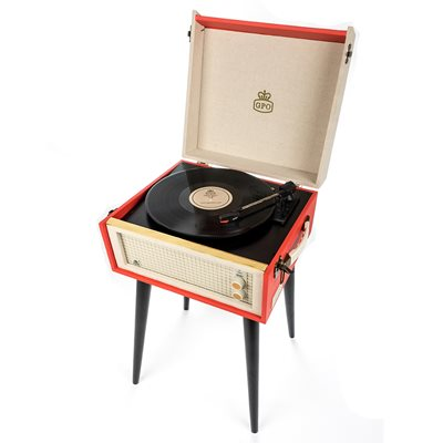 GPO BERMUDA RECORD PLAYER TURNTABLE in Red & Cream