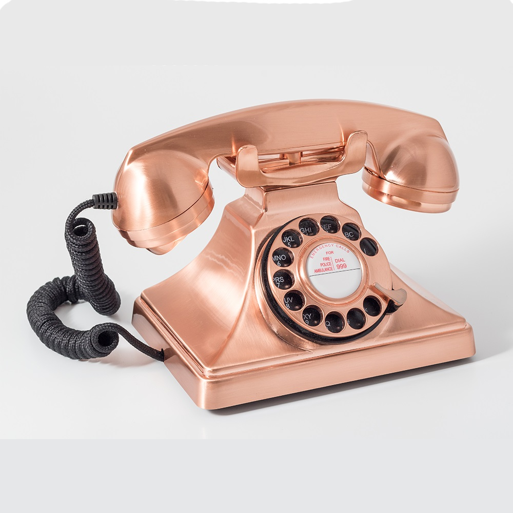 gpo carrington rotary dial phone in copper retro gifts cuckooland. Black Bedroom Furniture Sets. Home Design Ideas