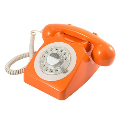 746 RETRO ROTARY DIAL PHONE in Orange