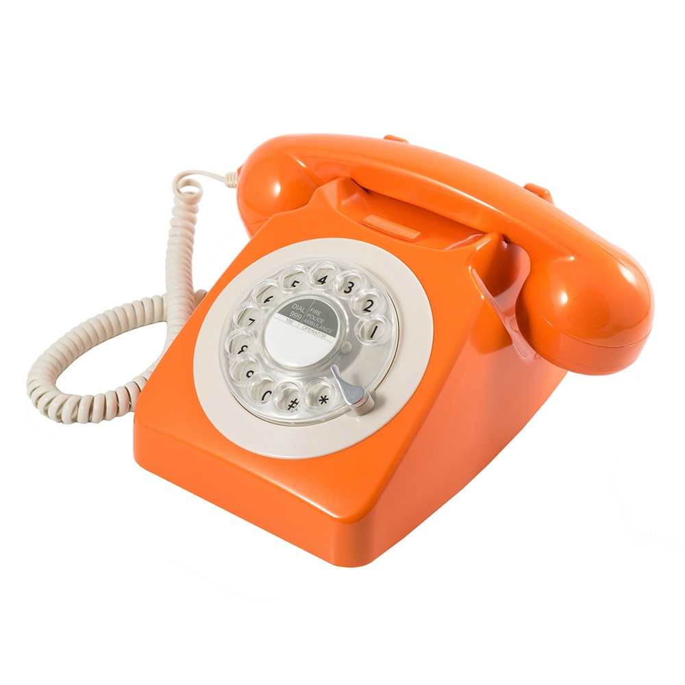 746 retro rotary dial phone in orange home office cuckooland. Black Bedroom Furniture Sets. Home Design Ideas