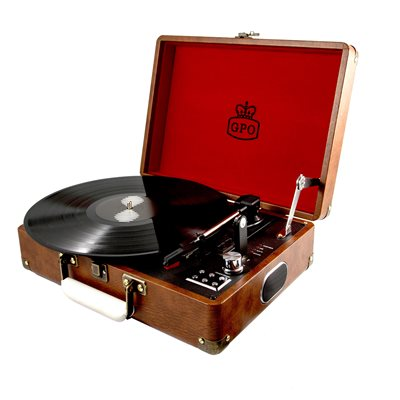 GPO ATTACHE RECORD PLAYER TURNTABLE SUITCASE in Brown