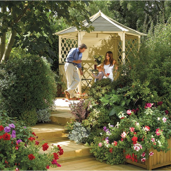 Gainsborough Wooden Gazebo in Natural Timber by Rowlinson