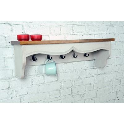 HALL RACK / HAT SHELF in Antique White