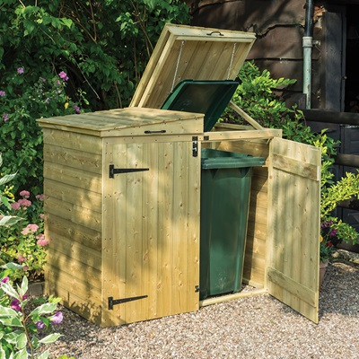Rowlinson Apex Double Wheelie Bin Storage in Natural Timber